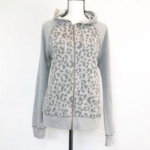 Caslon Gray Animal Print Full Zip Hoodie Size XL